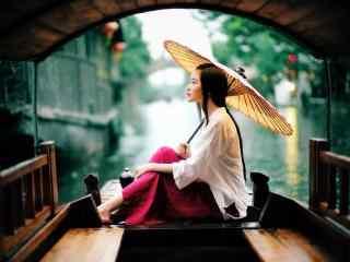 浙江西塘和雨中美女风景壁纸