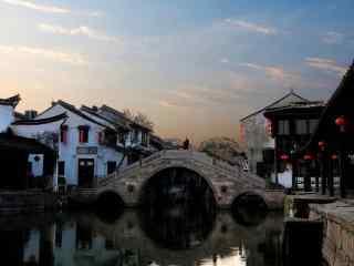 清晨安静的西塘古镇风景壁纸