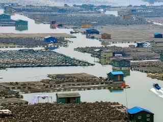 最美的滩涂福建霞浦海上渔屋桌面壁纸
