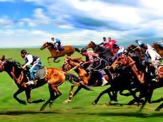内蒙古骑马比赛高清电脑桌面壁纸