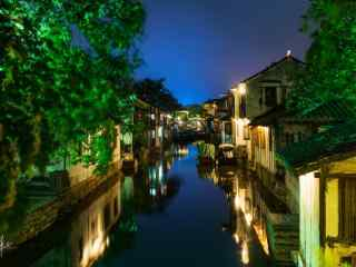 美丽的水乡之周庄古镇夜景桌面壁纸