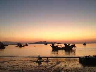 最美的滩涂福建霞浦美丽的海边日出桌面壁纸