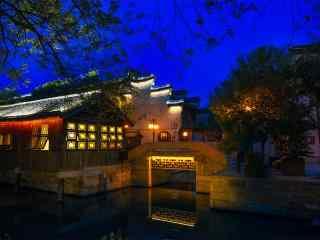 文艺的南浔古镇夜景风景壁纸