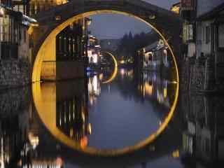安静文艺的南浔古镇石拱桥风景壁纸