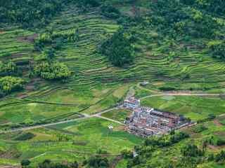 仙居景星岩绿色山村俯瞰摄影图片桌面壁纸