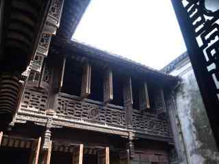 南浔古镇之古宅老屋中的天空风景壁纸