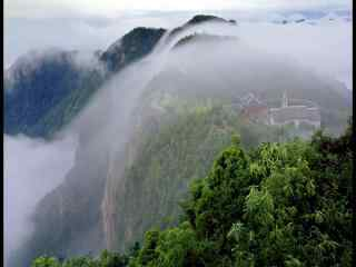 烟雾缭绕的山景仙居景星岩风光桌面壁纸