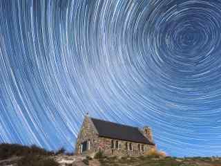 新西兰好牧羊人教堂上的星轨风景壁纸