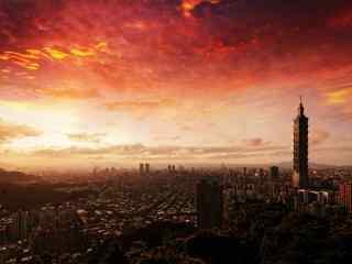 唯美夕阳下的台北101大楼风景壁纸