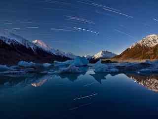 唯美新西兰的塔斯曼冰湖风景壁纸