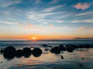 新西兰的Moeraki大圆石风景壁纸
