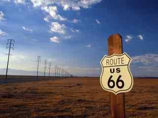 美国自驾游66号公路路标桌面壁纸