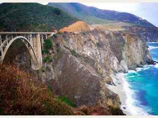 美国加州一号公路海岸大桥风景桌面壁纸