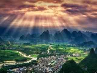 唯美桂林兴坪古镇风景桌面壁纸