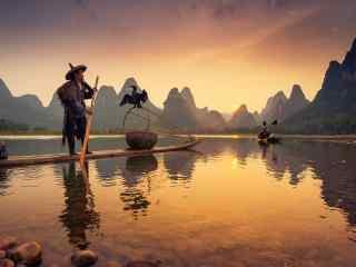 暖色调之傍晚的桂林漓江风景壁纸