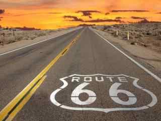 美国66号公路绮丽黄昏景色桌面壁纸