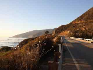美国自驾游加州一号公路唯美秋天落日桌面壁纸
