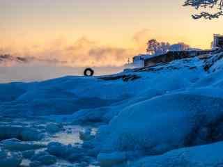 冰天雪地唯美的朝霞芬兰自然风景桌面壁纸