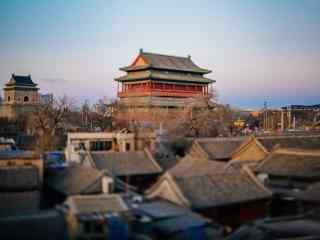 北京后海鼓楼青砖瓦砾桌面壁纸