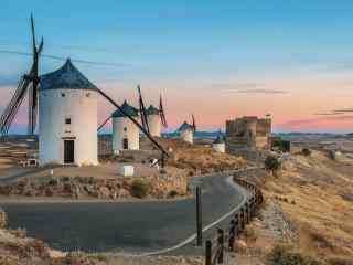 西班牙风车村Castillode Consuegra桌面壁纸