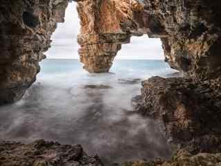 西班牙摄影海岩洞桌面壁纸