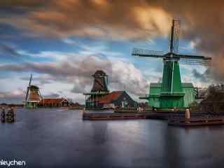 荷兰美丽的风车风景壁纸