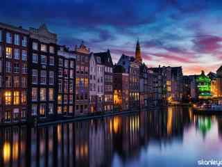 超美的荷兰夜景风景壁纸