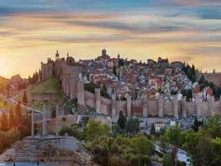 西班牙马德里El Escorial古城古色古香的城堡桌面壁纸