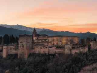 西班牙清晨的阿尔罕布拉宫桌面壁纸