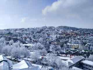 庐山小镇雪景图桌面壁纸