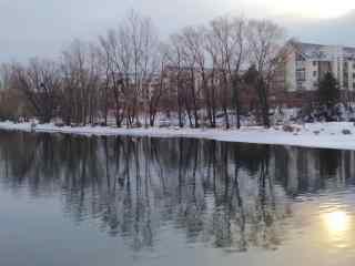 长白山二道白河小镇雪景电脑桌面图片