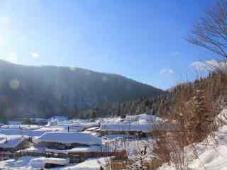 长白山山村雪景图片壁纸下载
