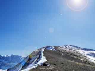 长白山清爽的雪顶风景壁纸图片下载