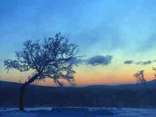 长白山唯美晚霞摄影图片桌面壁纸