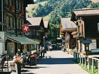 瑞士山村街道清新摄影图片壁纸