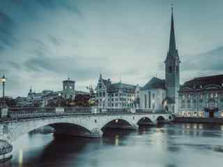 瑞士文艺城市风景桌面壁纸