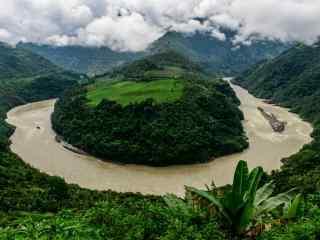 雅鲁藏布江绿色风景壁纸图片下载
