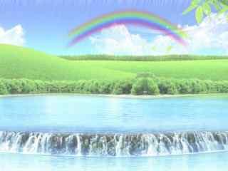 小清新雨后彩虹风景桌面壁纸
