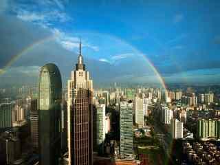 城市风景之美丽彩虹桌面壁纸