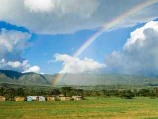 唯美的草原上的彩虹风景壁纸
