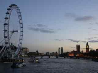 泰晤士河伦敦眼晚霞风景壁纸下载