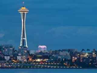 城市灯塔夜景桌面