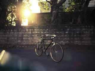 夕阳下的单车图片桌面壁纸