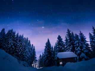 夜晚雪景与银河风景桌面壁纸