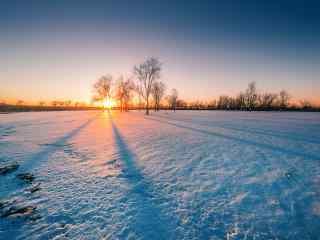 静谧夕阳下的雪景桌面壁纸