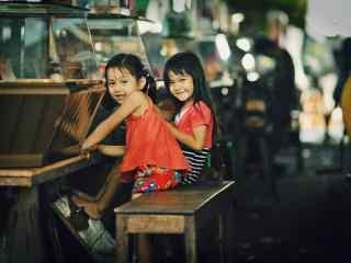 吴哥纯真微笑的孩子桌面壁纸