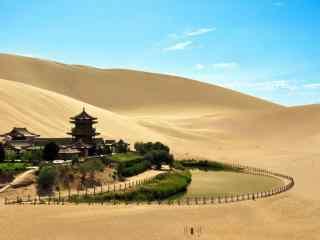 美丽的沙漠绿洲风景壁纸