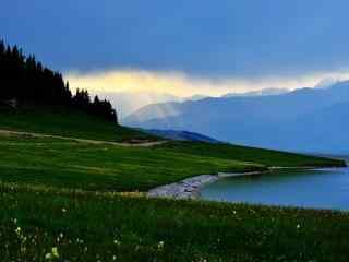 天山一米阳光唯美自然风光桌面壁纸图片