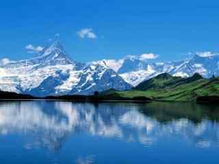 天山雪山湖泊自然风景图片高清桌面壁纸