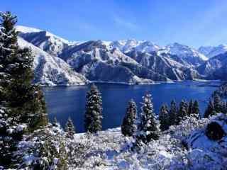 天山唯美的山川湖泊雪林桌面壁纸图片下载